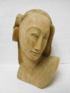 Vintage Hand Carved Wood Hawaiian Polynesian Bust Portrait Hibiscus Flower