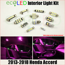 For 2013-2018 Honda Accord PINK Interior LED Light Accessories Package Kit 12 PC