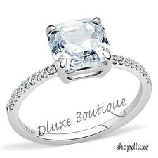 3.25 CT ASSCHER CUT AAA CZ STAINLESS STEEL ENGAGEMENT RING WOMEN'S SIZE 5-10