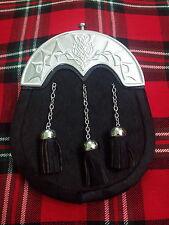 T C hommes KILT SPORRAN Costume complet noir bovine Chardon 3 pompons/cuir