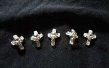 (5pcs) silver cross with 3D skull face nail art charms for nails, acrylic, gel