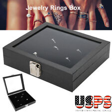Ring Box Organizer Jewelry Holder W/Glass Top Display Case Tray 36 Slots Storage