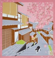 Japanese 12 Seasons in Kyoto Tama The Cat Furoshiki Scarf Sakura Cherry Blossom