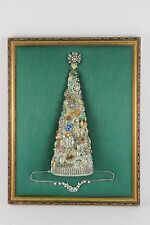 "Lovely Vintage Rhinestone Jewelry Christmas Tree Framed Art 20"" x 15"""