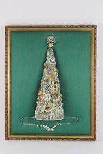 "Lovely Vintage Rhinestone Jewelry Christmas Tree Framed Art 20"" x 15"""