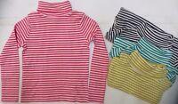 Girls MINI BODEN top t-shirt long sleeve roll neck striped 3 4 5 6 7 9 10 years