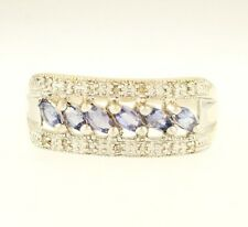 9Carat White Gold Marquise Tanzanite & Diamond Cluster Ring (Size S) 8mm Wide