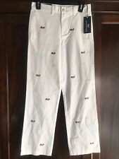VINEYARD VINES Boys Embroidered Flag Whale Club Pants White Size 12 - NWT!