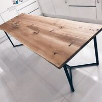 London Solid Live Edge Oak Industrial Dining Table Wooden Rustic Reclaimed