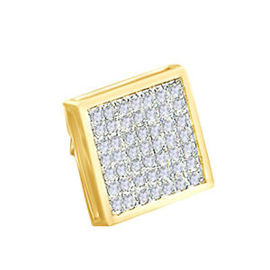 14K Yellow Gold Over Round Simulated Mens Stud Earring 0.38ct Jewelry