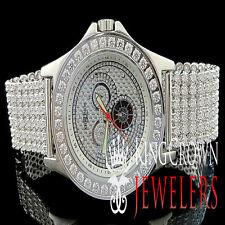 White Khronos Real Diamond Joe Rodeo Gold Finish 1 Row Bezel Iced Out Band Watch