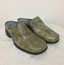 MEPHISTO Womens Air Jet Snake Skin Patent Leather Mule Comfort Olive Green 8.5M