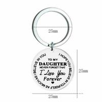 Stainless Steel LoverDaughter Gift Keychain I Love Forever you Keyring N8V8
