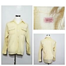 Pennys TownCraft Shirt Men's L Yellow,1960's Crepe Style Button Down Inv#S8050