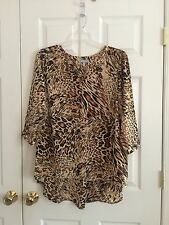 Harper & Liv Women's Plus Blouse 2X, 3/4 Sleeve Animal Beige/Brown NWOT