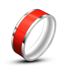 7mm Black/White/Red Enamel Titanium Steel Band Men/Women's Party Ring Size 7-12