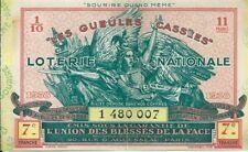 Les Gueules Cassées Billet 1938 Loterie nationale