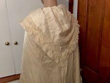 Antique Cream Satin & Ruched Silk Wedding Robe HorseShoe Heather Embroidery