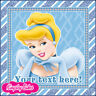 PRECUT EDIBLE ICING 7.5 INCH SQUARE YOUR MESSAGE CINDERELLA CAKE TOPPER CS0130