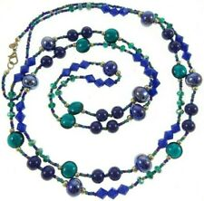 """60"""" Premier Designs Blue Green Glass Beaded Necklace Long Layering"""