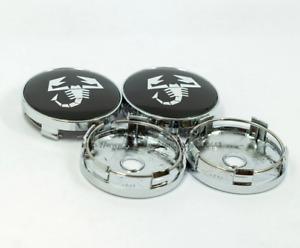 4x60mm Scorpion Black Chrome Wheel Center Hub Caps Rim Caps Decals Badges