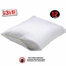 12 WHITE ZIPPERED PILLOW COVERS PROTECTORS PILLOW STANDARD 20x30 COTTON 210TC