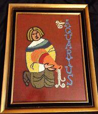 Vintage Aquarius Zodiac Sign Modernist Mid Century Modern Embroidery Framed