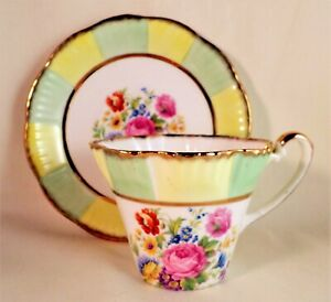 ROYAL IMPERIAL China VINTAGE Cup and Saucer FLORAL Tea Set 22 Kt Gold GORGEOUS