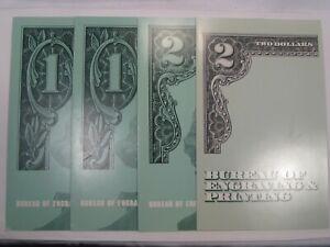 Lot of 4 $1, $2 Uncut Note Sheets w/ Folders $24 Face: 1985, 2001, 1995(2).  #45