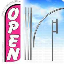 Open - Windless Swooper Flag Kit Feather Banner Sign pink 15' q