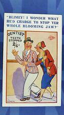 Vintage Comic Postcard 1930s Dentist Othodontist Teeth STOPPED FILLINGS JAW