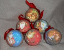 Set of 6 Frosted Ball Shaped Christmas Ornaments
