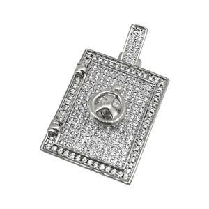 Rhodium 3D Secret Stash Vault Pendant For Chains