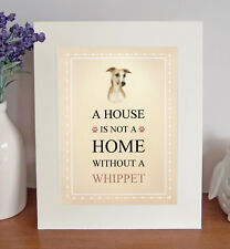 Whippet 8 x 10 Free Standing A HOUSE IS NOT A HOME Picture 10x8 Dog Print Gift