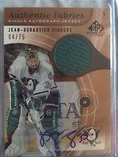 2005/06 SP Game Used Jean-Sebastien Giguere jersey Auto Anaheim Ducks #04/75