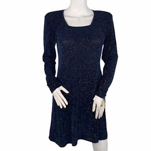 Rabbit Rabbit Rabbit Designs Shimmering Navy Blue Vintage Long Sleeve Dress 8
