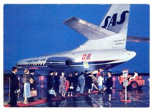 1965 SAS Scandinavian Airlines Caravelle Jet SE-210-01 Color LOGO Postcard