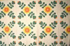VIBRANT Vintage 30's Ohio Rose Applique Antique Quilt ~DENSE QUILTING!