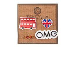 Double Decker Bus Union Jack Flag Lightning OMG Pins Ten79LA London British New