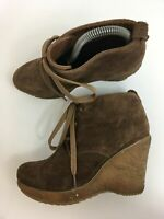 WOMENS OASIS BROWN SUEDE LACE UP HIGH WEDGE HEEL SMART ANKLE BOOTS SHOES UK 6
