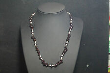 Sterling Garnet and Pearl Necklace