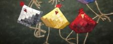 MINIATURE LOG CABIN CHICKEN ORNAMENT PIN QUILT PATTERN BY COUNTRY STITT-CHES