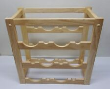 Heavy Duty Solid Oak Wood Three-Tier Wine Rack Holds 9 Bottles / 3 Each Tier EXC