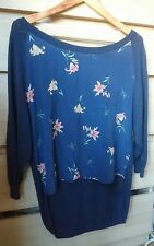 French Connection Blue Cardigan Silk Front XS loose fit