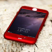 New 360° Full Acrylic Hard Red Case Cover With Tempered Glass For iPhone 7 Plus