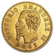 1863-1865 Italy Gold 10 Lire Vittorio Emanuele II Avg Circ - SKU #71357