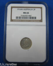 1916 Threepence. NGC MS65. An outstanding coin & the pride of a collection