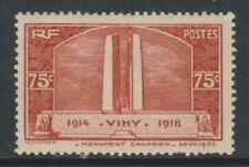 France - 1936, 75c Canadian War Memorial stamp - L/M - SG 549