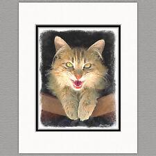 Mad Yellow Cat Original Art Print 8x10 Matted to 11x14