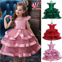 Girls Kids Princess Lace Dress Wedding Party Bridesmaid Prom Gown Tutu Dresses